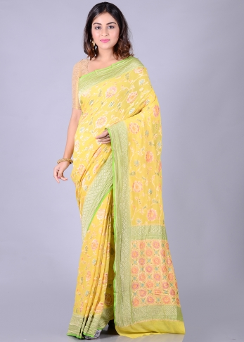 Pure Chiffon Silk Yellow Hand Woven Saree