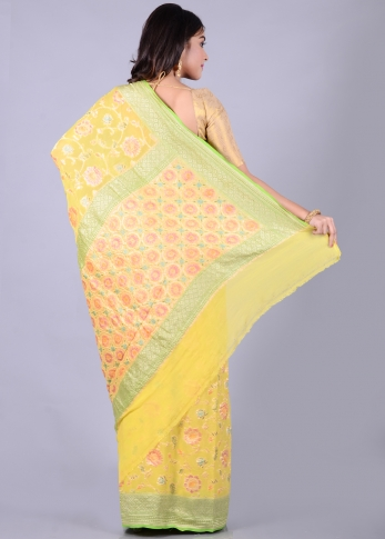Pure Chiffon Silk Yellow Hand Woven Saree 2