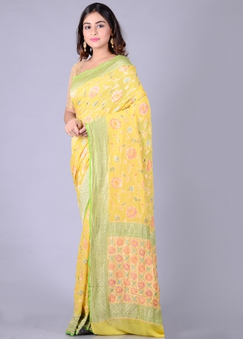 Pure Chiffon Silk Yellow Hand Woven Saree 1