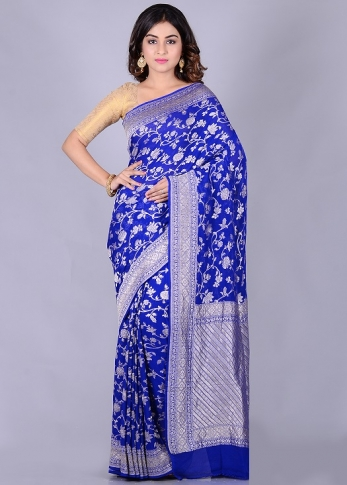 Pure Chiffon Silk Royal Blue Hand Woven Saree
