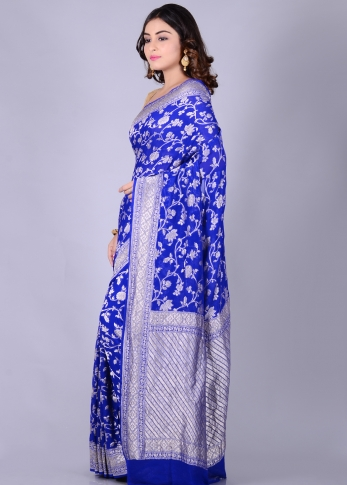 Pure Chiffon Silk Royal Blue Hand Woven Saree 1