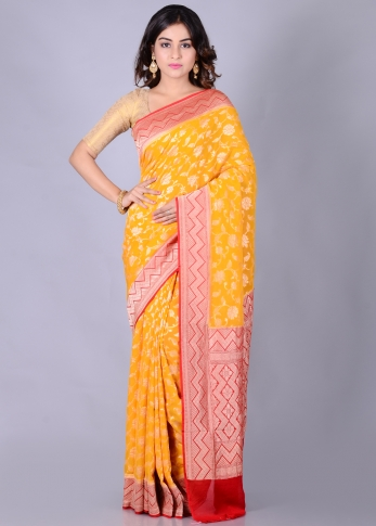 Pure Chiffon Silk Yellow Red Hand Woven