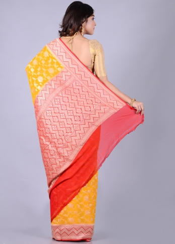 Pure Chiffon Silk Yellow Red Hand Woven 2