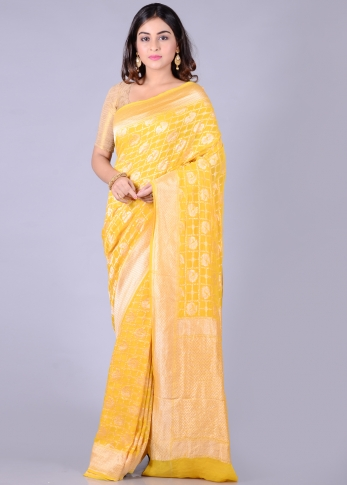 Pure Chiffon Silk Yellow Hand Woven Saree Zari Work