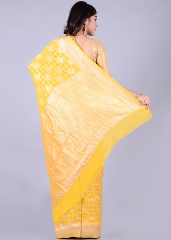 Pure Chiffon Silk Yellow Hand Woven Saree Zari Work 2
