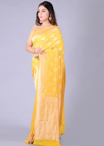 Pure Chiffon Silk Yellow Hand Woven Saree Zari Work 1