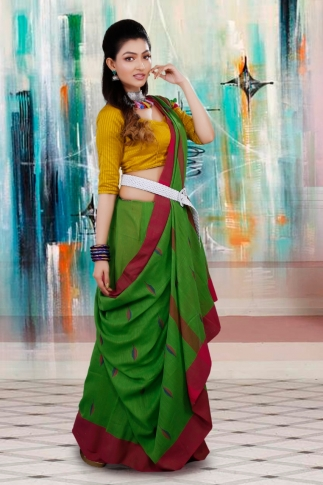 Green with Red and Blue Border Hand Woven Pure Cotton Saree