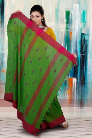 Green with Red and Blue Border Hand Woven Pure Cotton Saree 2