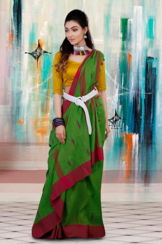 Green with Red and Blue Border Hand Woven Pure Cotton Saree 1