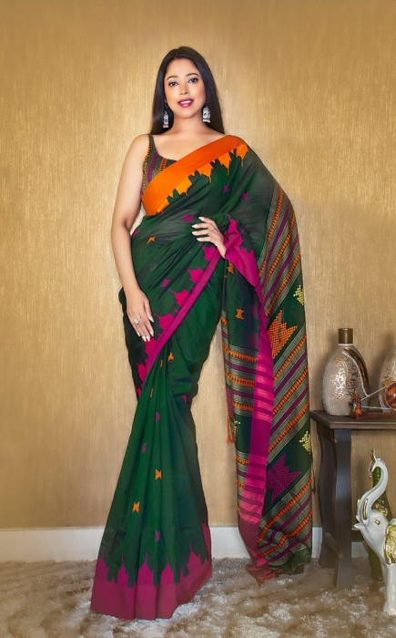 Bottle Green Pure Cotton hand woven saree with temple border