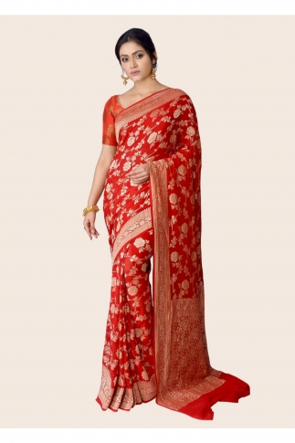 Pure Chiffon Silk Red Hand Woven Saree