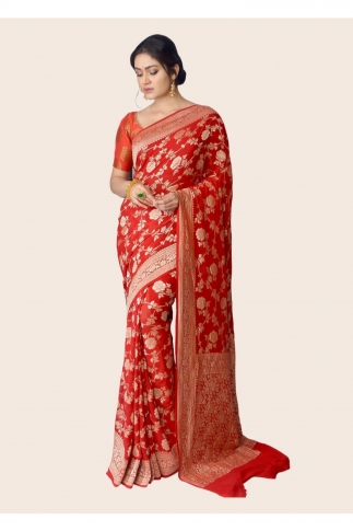 Pure Chiffon Silk Red Hand Woven Saree 1
