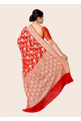 Pure Chiffon Silk Red Hand Woven Saree 2