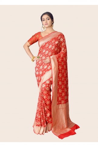 Pure Chiffon Silk Red Hand Woven Saree Zari Work