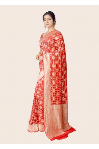Pure Chiffon Silk Red Hand Woven Saree Zari Work 1