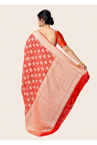 Pure Chiffon Silk Red Hand Woven Saree Zari Work 2