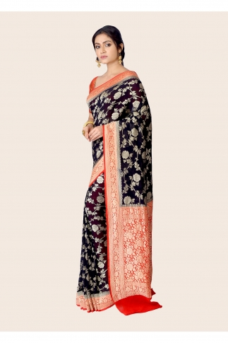 Pure Chiffon Silk Black Red Hand Woven Saree 1