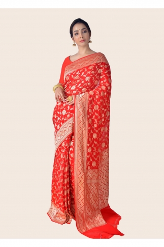 Pure Chiffon Silk Hand Woven Red Saree Zari Work