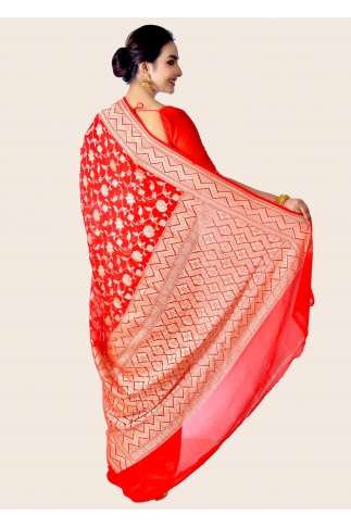 Pure Chiffon Silk Hand Woven Red Saree Zari Work 2