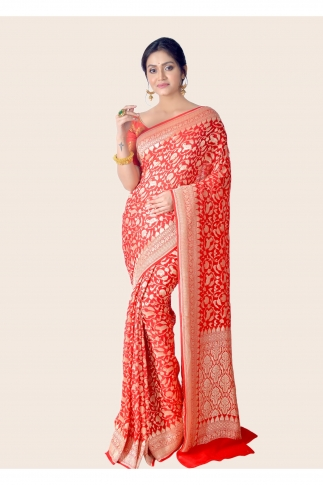 Pure Chiffon Silk Hand Woven Red Saree