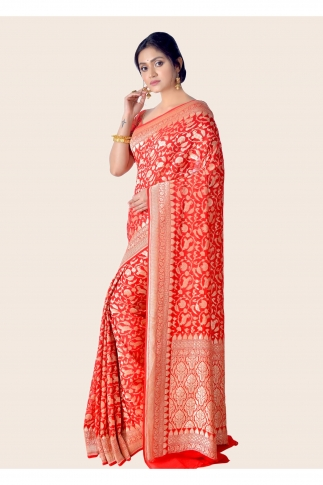 Pure Chiffon Silk Hand Woven Red Saree 1