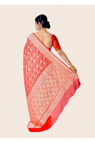 Pure Chiffon Silk Hand Woven Red Saree 2