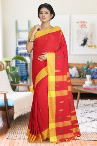 Yellow & Red Hand Woven Pure Cotton Saree