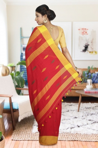 Yellow & Red Hand Woven Pure Cotton Saree 1