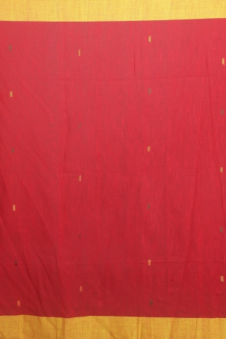 Yellow & Red Hand Woven Pure Cotton Saree 2