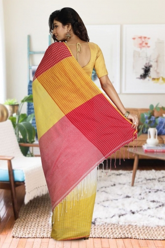 Yellow, Red & White Hand Woven Pure Cotton Saree 1