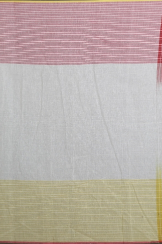 Yellow, Red & White Hand Woven Pure Cotton Saree 2