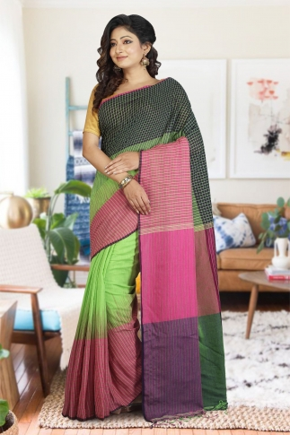 Navy Blue, Pink & Green Hand Woven Pure Cotton Saree