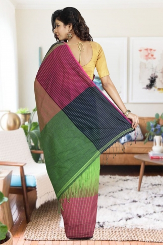 Navy Blue, Pink & Green Hand Woven Pure Cotton Saree 1