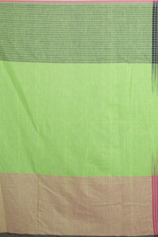 Navy Blue, Pink & Green Hand Woven Pure Cotton Saree 2