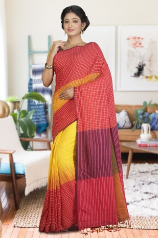 Red and Yellow Hand Woven Pure Cotton Saree