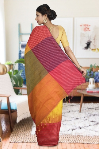 Red and Yellow Hand Woven Pure Cotton Saree 1