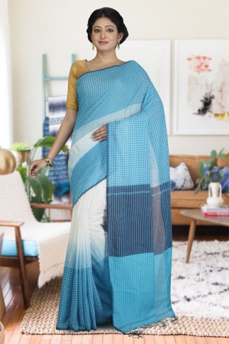 Sky Blue and White Hand Woven Pure Cotton Saree