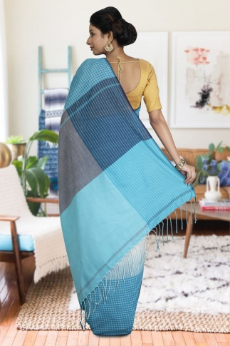Sky Blue and White Hand Woven Pure Cotton Saree 1
