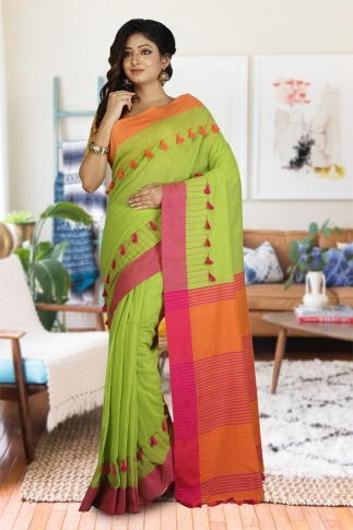 Green, Orange and Pink Hand Woven Pure Cotton Saree