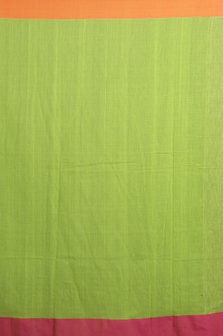 Green, Orange and Pink Hand Woven Pure Cotton Saree 2