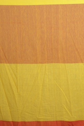 Yellow, Red & Orange Hand Woven Pure Cotton Saree 2