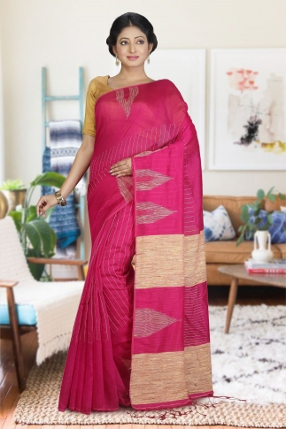 Pink with Ghicha Work Hand Woven Blended Cotton Saree