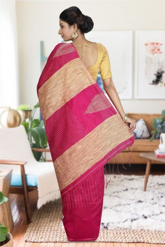 Pink with Ghicha Work Hand Woven Blended Cotton Saree 1