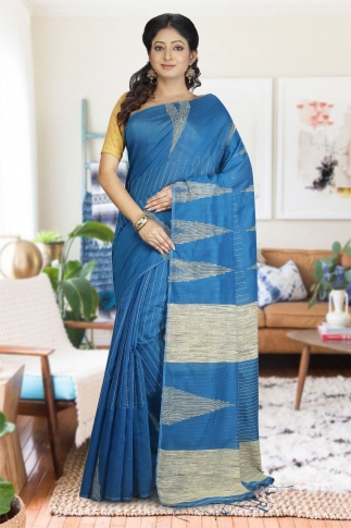 Teal with Ghicha Work Hand Woven Blended Cotton Saree
