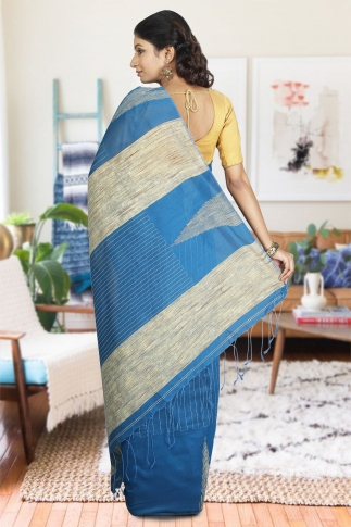 Teal with Ghicha Work Hand Woven Blended Cotton Saree 1