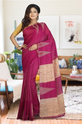 Magenta with Ghicha Work Hand Woven Blended Cotton Saree