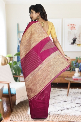 Magenta with Ghicha Work Hand Woven Blended Cotton Saree 1