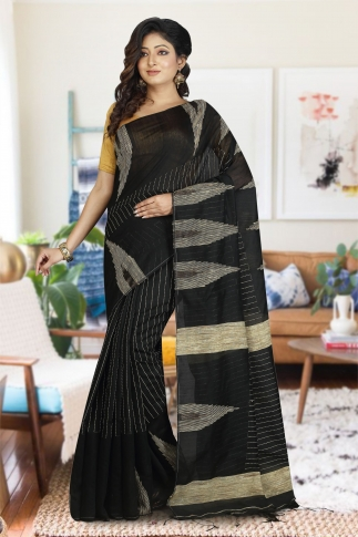 Black with Ghicha Work Hand Woven Blended Cotton Saree