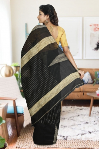 Black with Ghicha Work Hand Woven Blended Cotton Saree 1