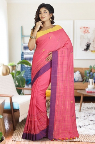 Peach Colour with Yellow and Purple Border Hand Woven Pure Cotton Saree
